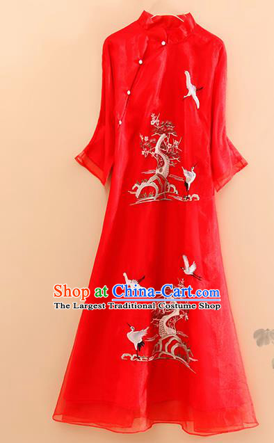 Traditional Chinese National Embroidered Pine Cranes Red Qipao Dress Tang Suit Cheongsam Costume for Women
