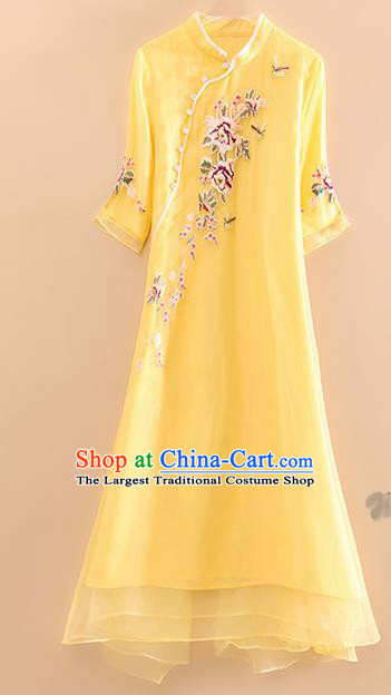 Traditional Chinese National Embroidered Peony Yellow Qipao Dress Tang Suit Cheongsam Costume for Women