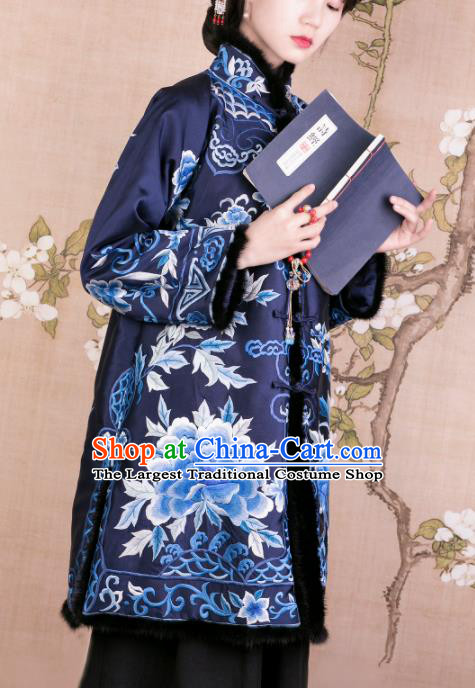 Chinese Traditional Tang Suit Royalblue Cotton Wadded Jacket National Costume Republic of China Qipao Upper Outer Garment for Women