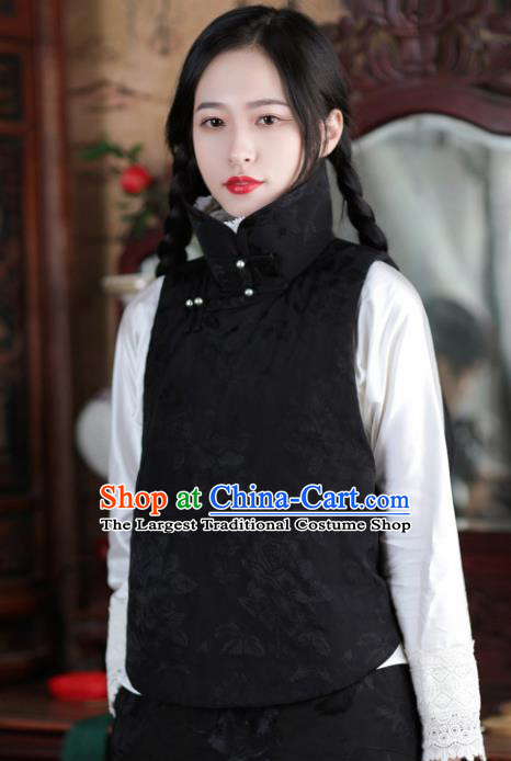Chinese Traditional Black Brocade Cotton Wadded Vest National Costume Tang Suit Waistcoat for Women