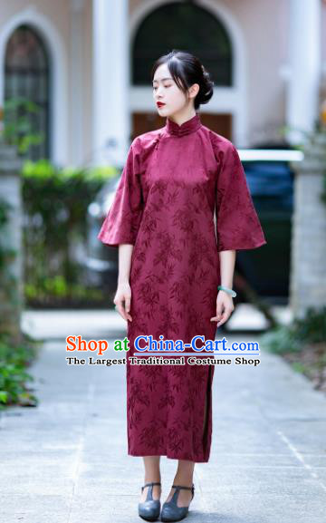 Traditional Chinese National Wine Red Brocade Qipao Dress Tang Suit Cheongsam Costume for Women