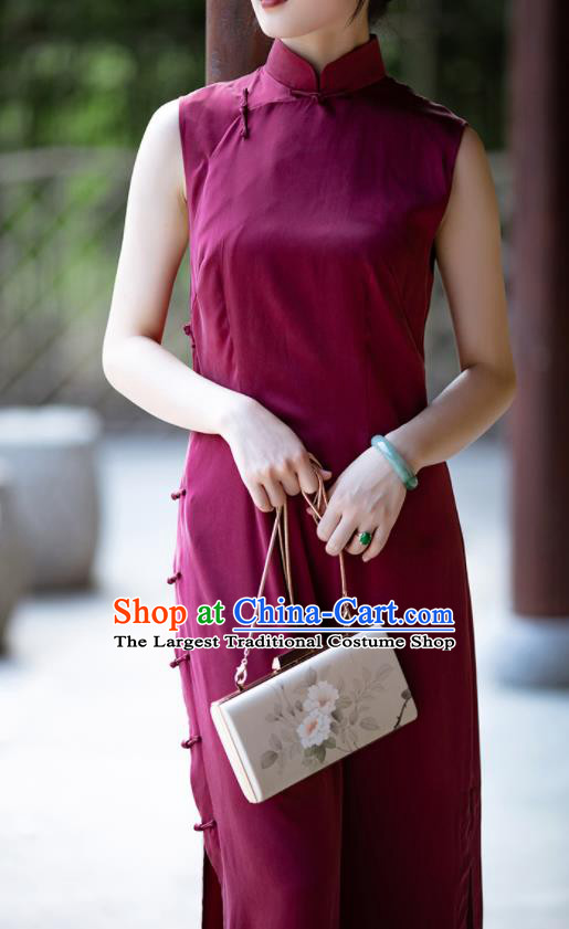 Traditional Chinese National Wine Red Silk Qipao Dress Tang Suit Cheongsam Costume for Women