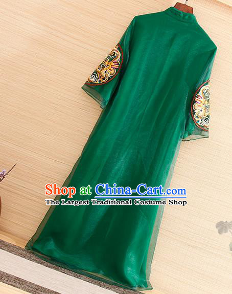 Traditional Chinese National Embroidered Dragon Green Organza Qipao Dress Tang Suit Cheongsam Costume for Women