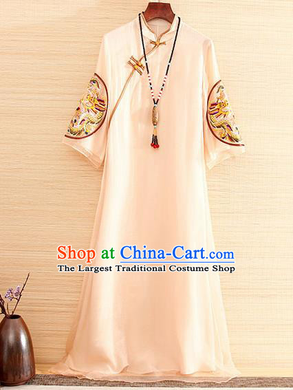 Traditional Chinese National Embroidered Dragon Apricot Organza Qipao Dress Tang Suit Cheongsam Costume for Women