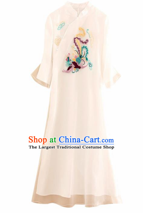 Traditional Chinese National Embroidered Phoenix White Qipao Dress Tang Suit Cheongsam Costume for Women