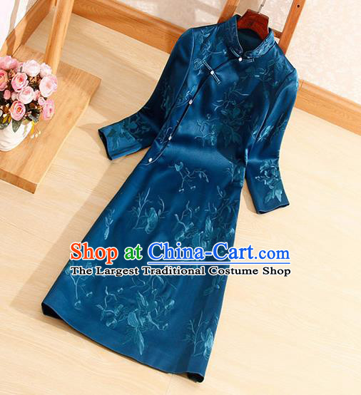 Traditional Chinese National Embroidered Peacock Blue Qipao Dress Tang Suit Cheongsam Costume for Women