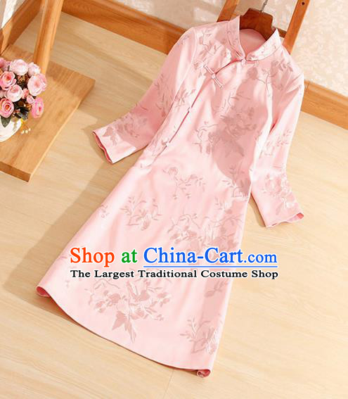 Traditional Chinese National Embroidered Pink Qipao Dress Tang Suit Cheongsam Costume for Women