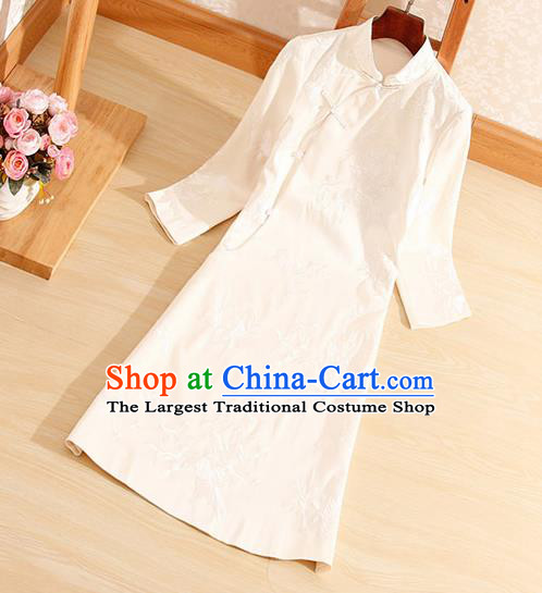 Traditional Chinese National Embroidered White Qipao Dress Tang Suit Cheongsam Costume for Women