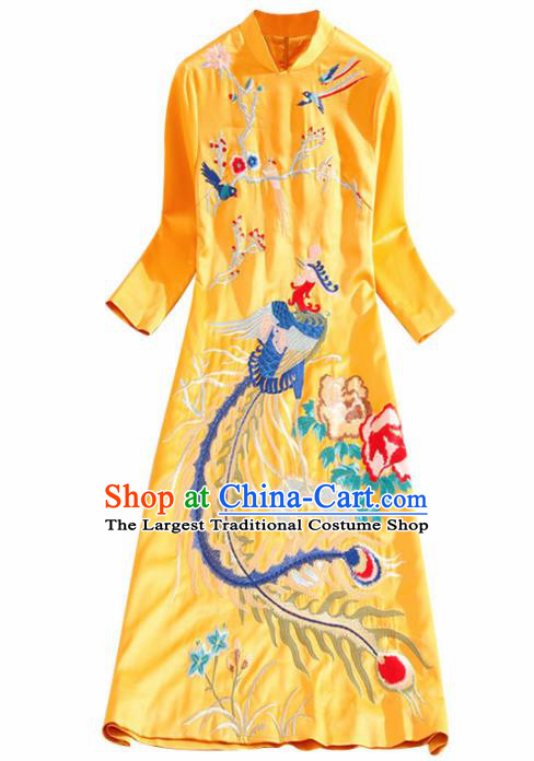 Traditional Chinese National Embroidered Phoenix Plum Golden Qipao Dress Tang Suit Cheongsam Costume for Women