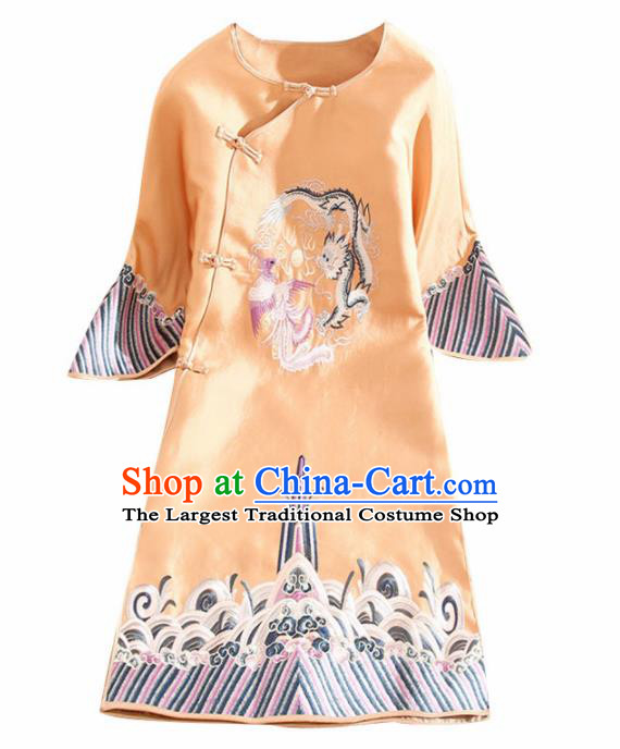 Traditional Chinese National Embroidered Dragon Phoenix Golden Qipao Dress Tang Suit Cheongsam Costume for Women