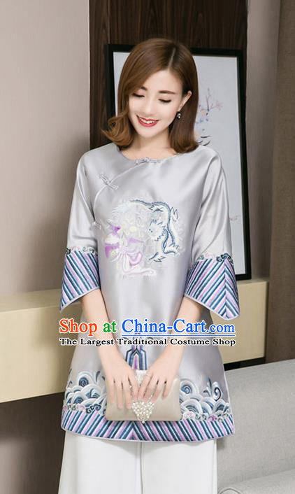 Traditional Chinese National Embroidered Dragon Phoenix Grey Qipao Dress Tang Suit Cheongsam Costume for Women