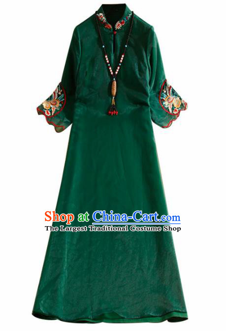 Traditional Chinese National Embroidered Butterfly Deep Green Qipao Dress Tang Suit Cheongsam Costume for Women