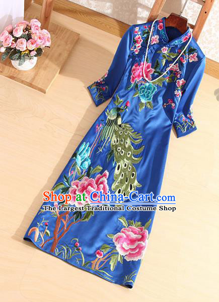 Traditional Chinese National Embroidered Peacock Peony Royalblue Qipao Dress Tang Suit Cheongsam Costume for Women