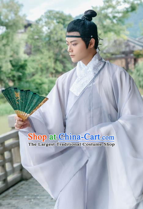 Traditional Chinese Ming Dynasty Scholar Grey Robe Ancient Nobility Childe Taoist Priest Historical Costumes for Men
