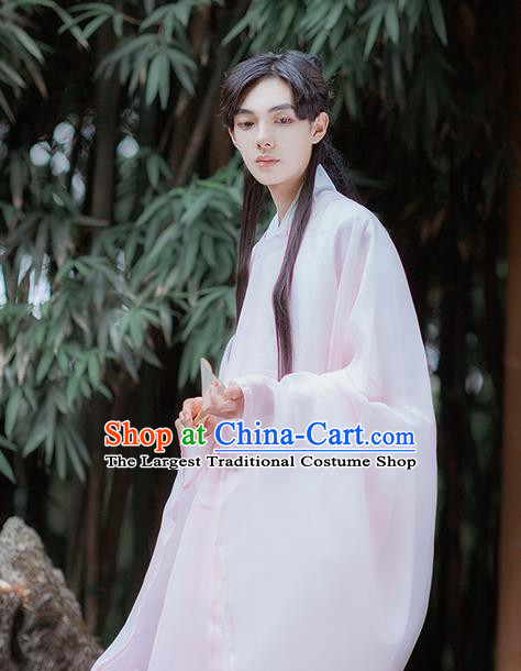 Traditional Chinese Ming Dynasty Nobility Childe Pink Robe Ancient Scholar Historical Costumes for Men