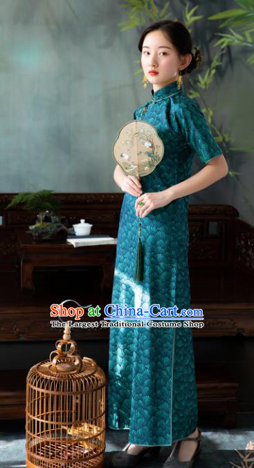 Traditional Chinese National Deep Green Silk Qipao Dress Tang Suit Cheongsam Costume for Women