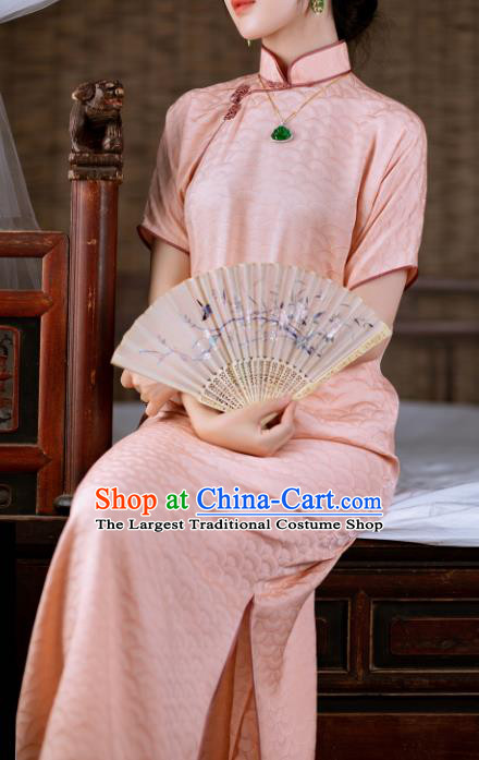 Traditional Chinese Late Qing Dynasty Pink Silk Qipao Dress National Tang Suit Cheongsam Costume for Women