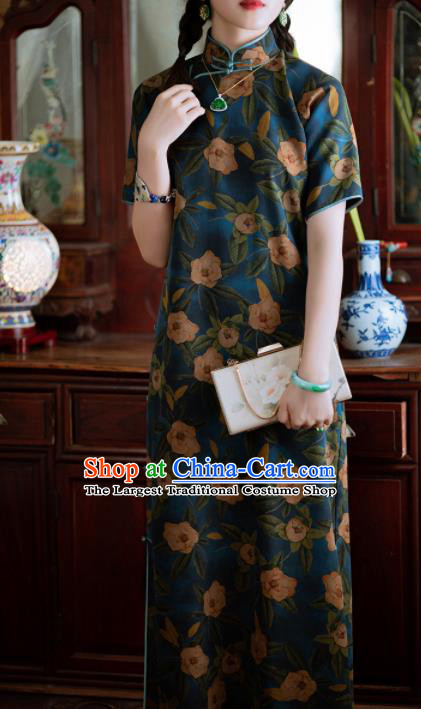 Traditional Chinese National Printing Deep Blue Silk Qipao Dress Tang Suit Cheongsam Costume for Women