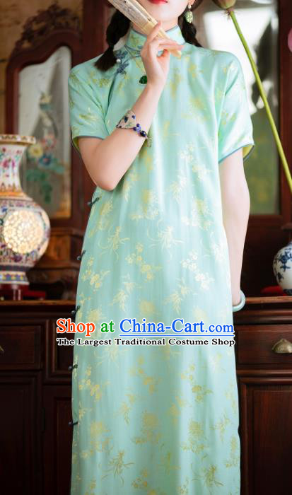Traditional Chinese National Printing Light Green Silk Qipao Dress Tang Suit Cheongsam Costume for Women