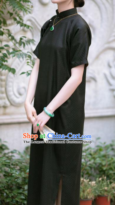 Chinese Traditional Tang Suit Black Silk Cheongsam National Costume Republic of China Qipao Dress for Women