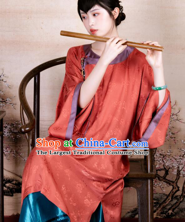 Traditional Chinese Late Qing Dynasty Orange Silk Qipao Dress National Tang Suit Cheongsam Costume for Women