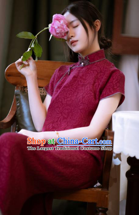 Traditional Chinese Wine Red Silk Qipao Dress National Tang Suit Cheongsam Costume for Women