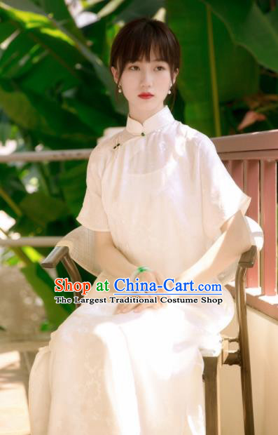 Traditional Chinese White Silk Qipao Dress National Tang Suit Cheongsam Costume for Women