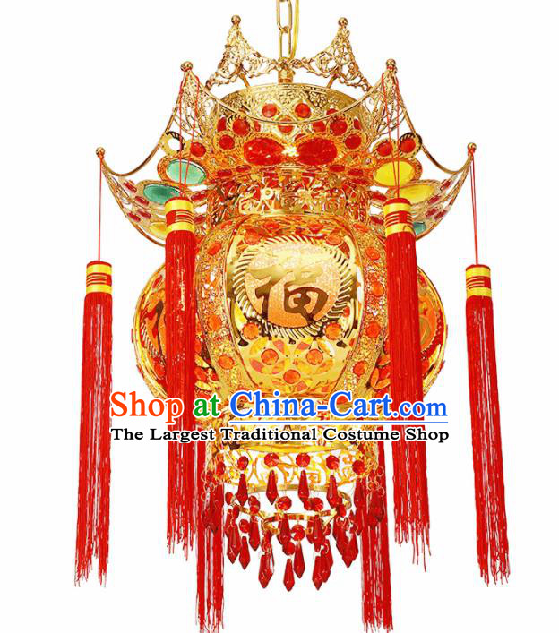 Chinese Traditional New Year Iron Palace Lantern Handmade Hanging Lantern Asian Ceiling Lanterns Ancient Lamp