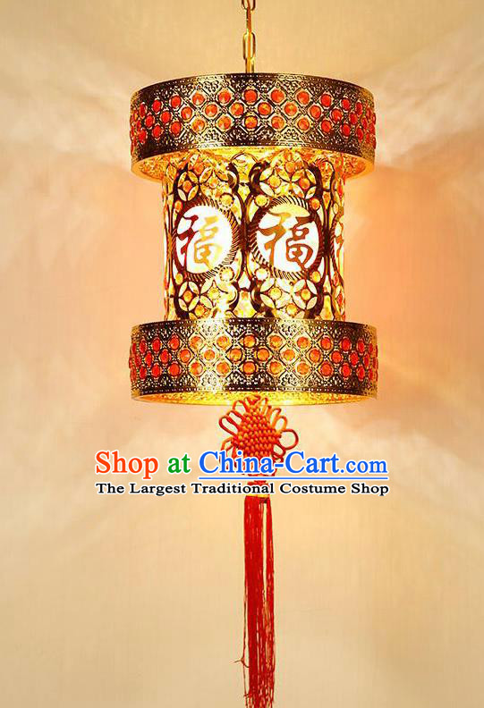 Chinese Traditional New Year Iron Red Palace Lantern Handmade Hanging Lantern Asian Ceiling Lanterns Ancient Lamp