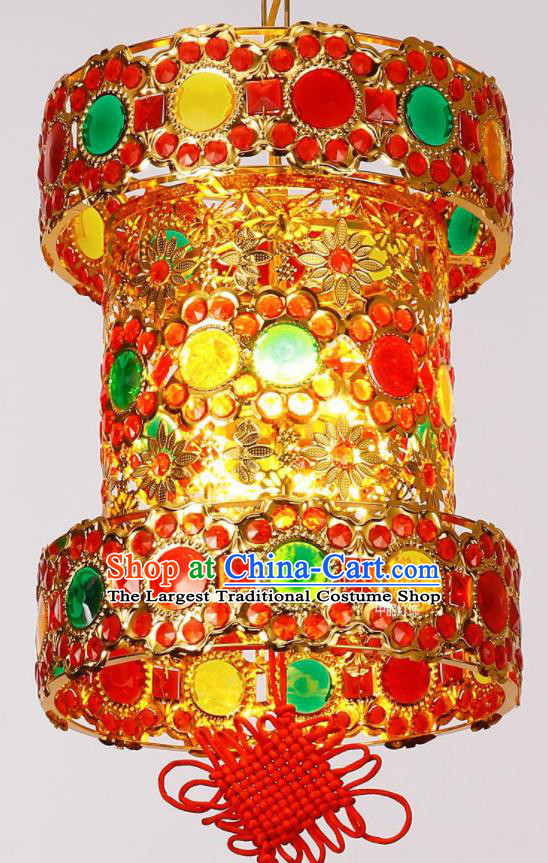 Chinese Traditional New Year Iron Crystal Palace Lantern Handmade Hanging Lantern Asian Ceiling Lanterns Ancient Lamp