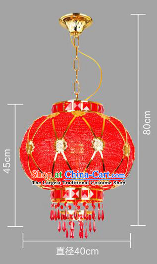 Chinese Traditional New Year Red Round Palace Lantern Handmade Hanging Lantern Asian Ceiling Lanterns Ancient Lamp