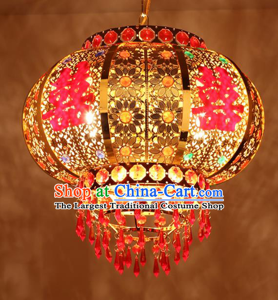 Chinese Traditional New Year Golden Wedding Palace Lantern Handmade Hanging Lantern Asian Ceiling Lanterns Ancient Lamp