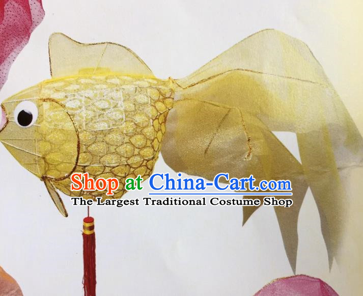 Chinese Traditional New Year Yellow Goldfish Palace Lantern Handmade Hanging Lantern Asian Ceiling Lanterns Ancient Lamp