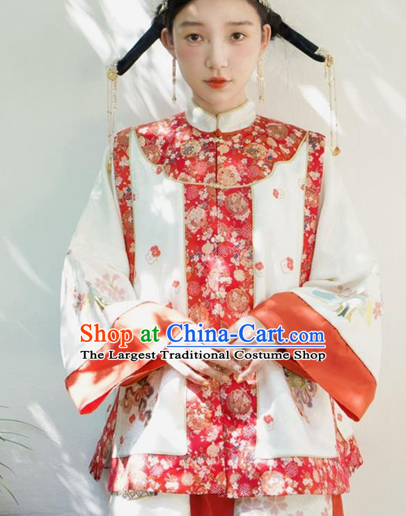 Chinese Traditional Qing Dynasty Embroidered Red Vest National Costume Tang Suit Waistcoat for Women
