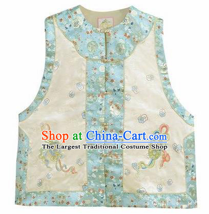 Chinese Traditional Qing Dynasty Embroidered Beige Vest National Costume Tang Suit Waistcoat for Women