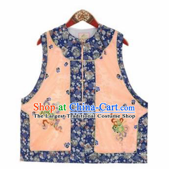 Chinese Traditional Qing Dynasty Embroidered Orange Vest National Costume Tang Suit Waistcoat for Women