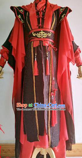 Chinese Traditional Cosplay Crown Prince Red Costume Ancient Taoist Swordsman Hanfu Clothing for Men