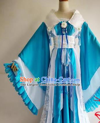 Chinese Traditional Cosplay Goddess Princess Blue Costume Ancient Imperial Consort Hanfu Dress for Women