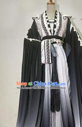 Chinese Traditional Cosplay Goddess Princess Black Costume Ancient Imperial Consort Hanfu Dress for Women