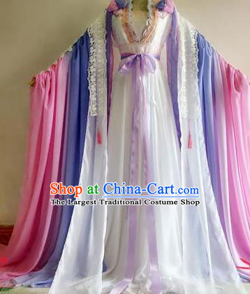 Chinese Traditional Cosplay Goddess Princess Pink Costume Ancient Imperial Consort Hanfu Dress for Women