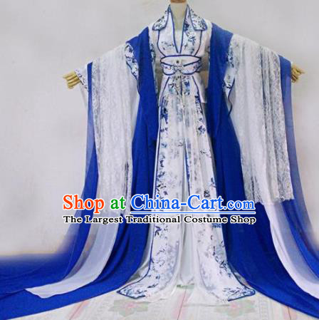 Chinese Traditional Cosplay Court Princess White Costume Ancient Palace Lady Hanfu Dress for Women