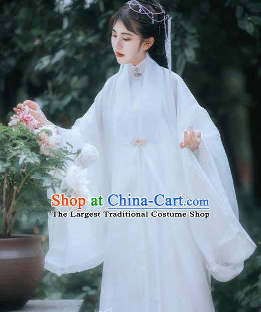 Traditional Chinese Ming Dynasty Taoist Nun White Hanfu Dress Ancient Royal Princess Historical Costumes for Women
