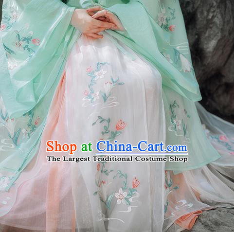 Traditional Chinese Ming Dynasty Palace Lady Green Hanfu Dress Ancient Court Princess Historical Costumes for Women