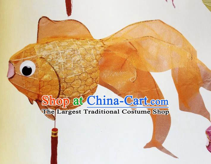 Chinese Traditional New Year Orange Goldfish Palace Lantern Handmade Hanging Lantern Asian Ceiling Lanterns Ancient Lamp