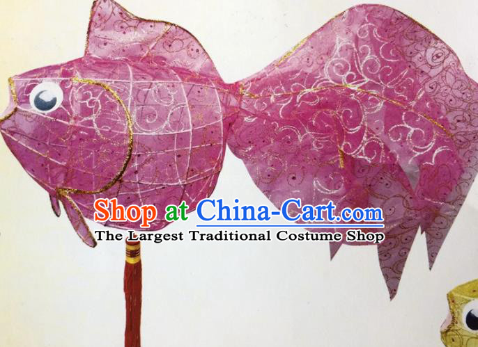 Chinese Traditional New Year Purple Goldfish Palace Lantern Handmade Hanging Lantern Asian Ceiling Lanterns Ancient Lamp