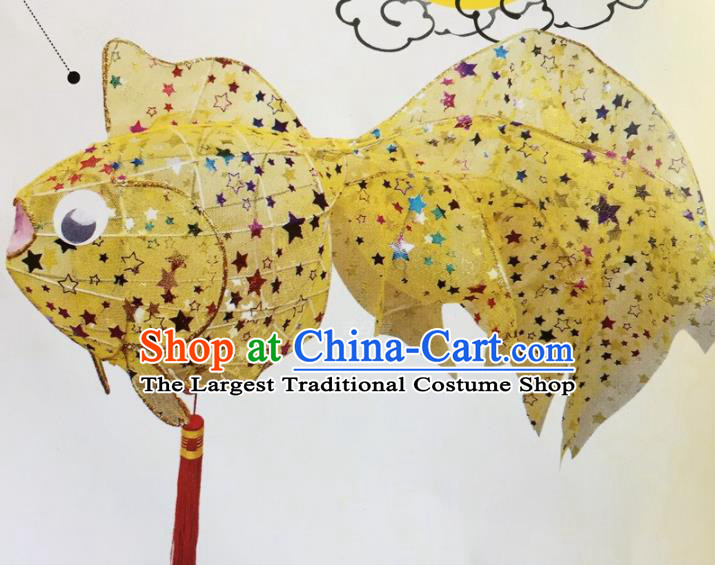 Chinese Traditional New Year Yellow Paillette Palace Lantern Handmade Hanging Lantern Asian Ceiling Lanterns Ancient Lamp