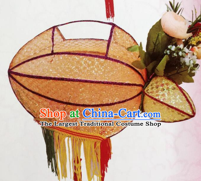 Chinese Traditional New Year Orange Palace Lantern Handmade Hanging Lantern Asian Ceiling Lanterns Ancient Lamp