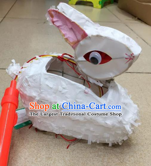 Chinese Traditional New Year White Rabbit Palace Lantern Handmade Hanging Lantern Asian Ceiling Lanterns Ancient Lamp