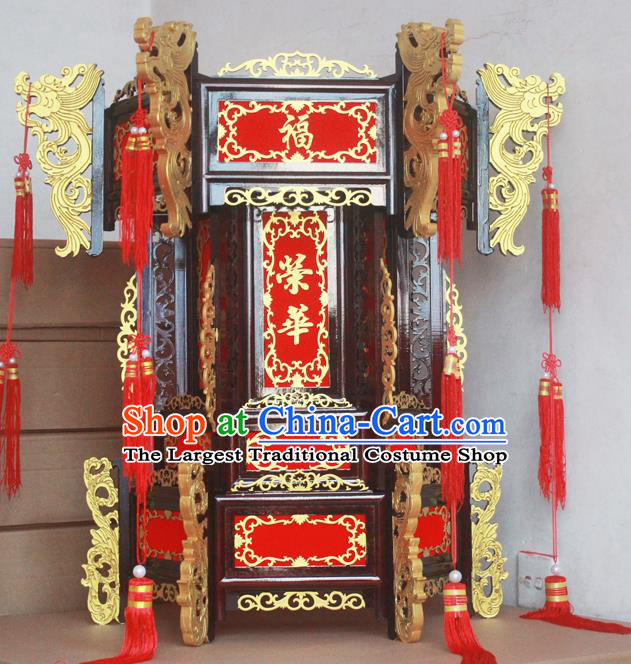 Chinese Traditional New Year Ebony Carving Red Palace Lantern Asian Handmade Lantern Ancient Lamp