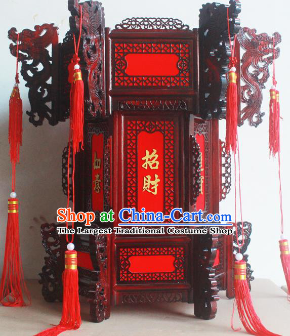 Chinese Traditional New Year Red Tassel Wood Palace Lantern Asian Handmade Lantern Ancient Lamp